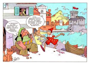 Vignetta di Pinocchio ambientata a Rapallo